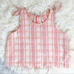 Madewell crop swing tank top pink plaid
